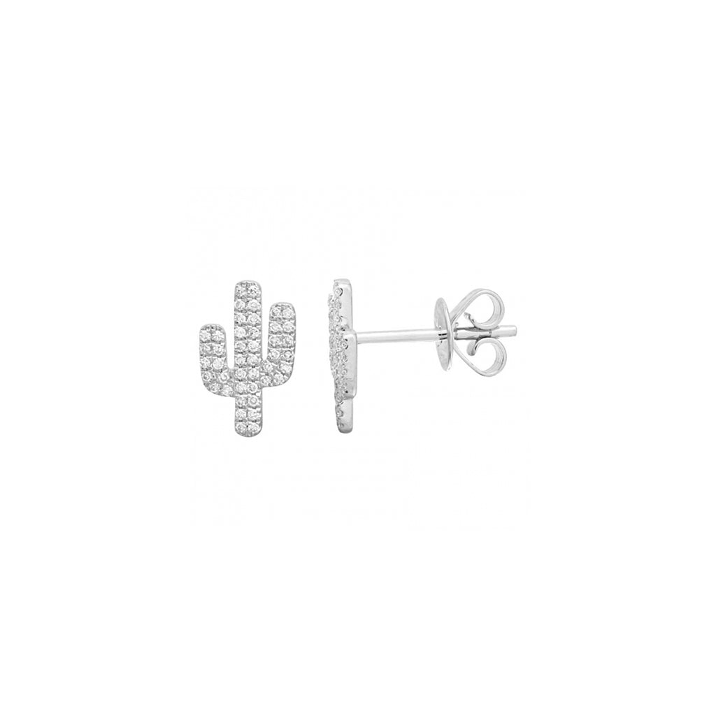 14k gold diamond cactus studs