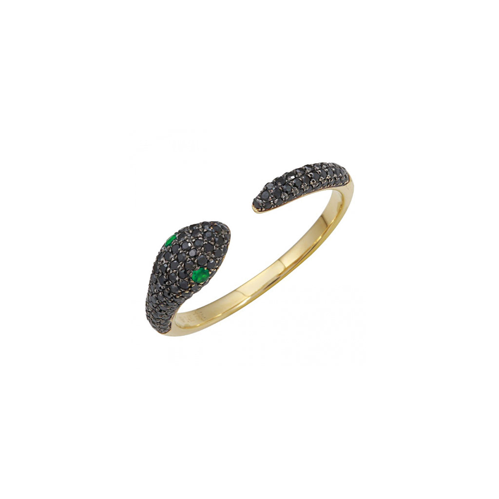 14k yellow gold diamond snake ring with emerald eyes