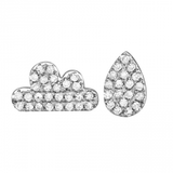14k gold diamond cloud and raindrop earrings