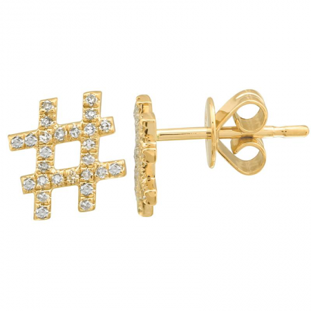 14k gold diamond hashtag studs - SINGLE