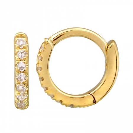 14k gold diamond 7mm huggies