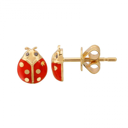 14k yellow gold black diamond enamel ladybug studs - Single Stud