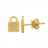 14k gold diamond heart lock earrings