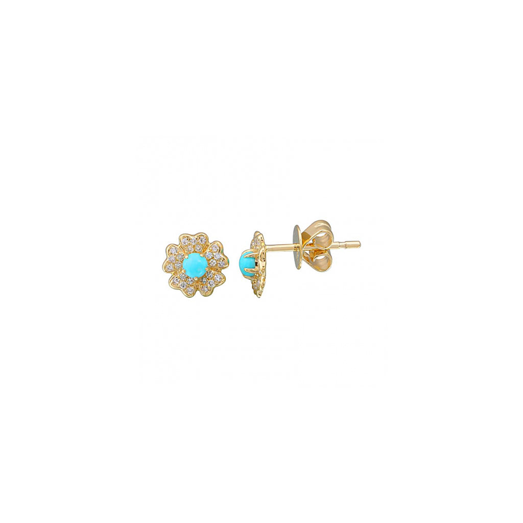 14k yellow gold diamond turq flower studs