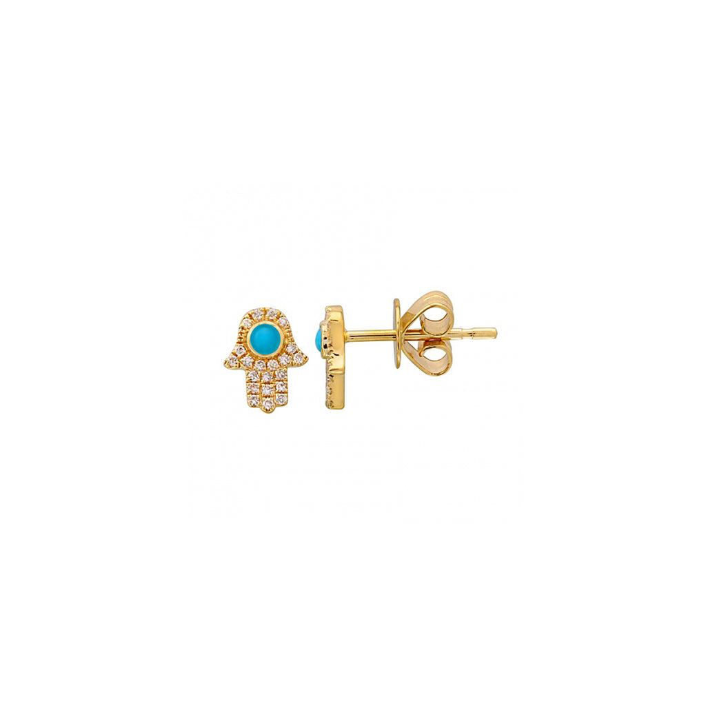 14k yellow gold diamond turq hamsa studs