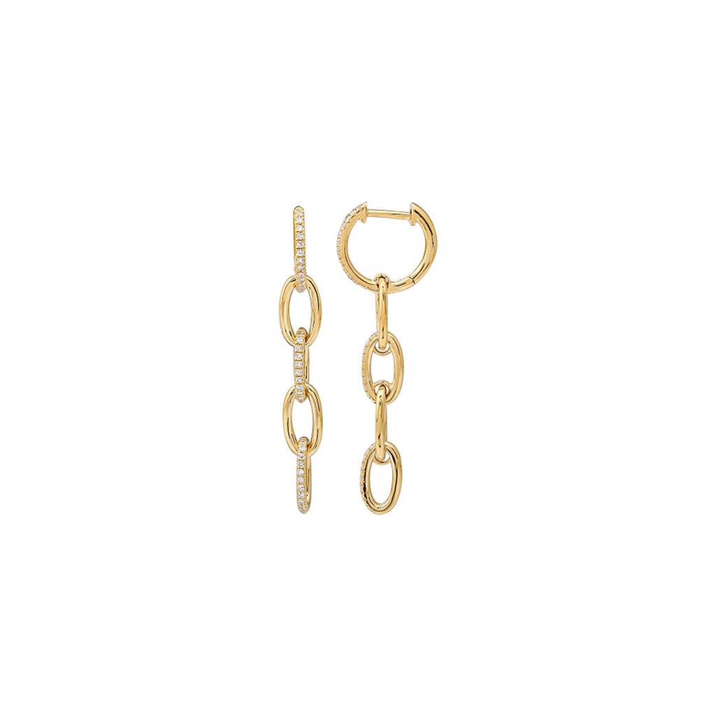 14k gold diamond chain link earrings