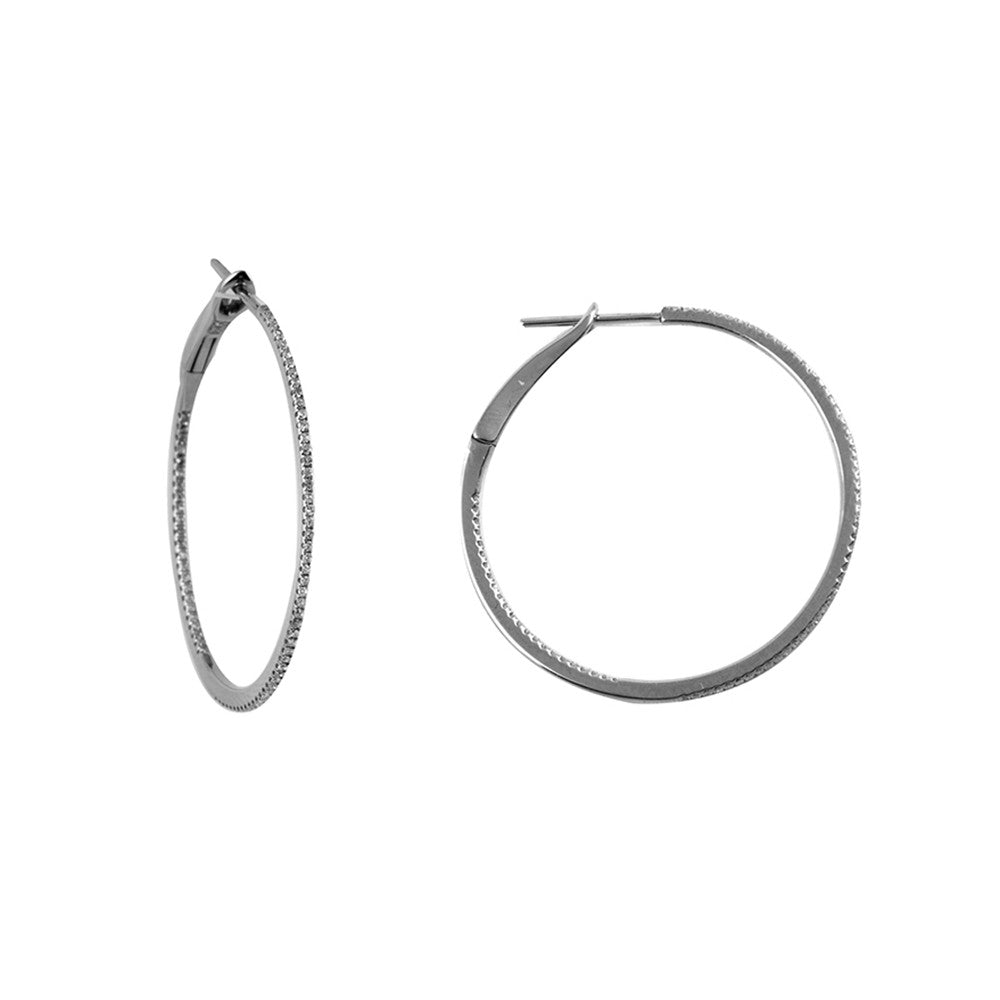 14k Black Rhodium 11/2'' Round Diamond Hoop Earrings