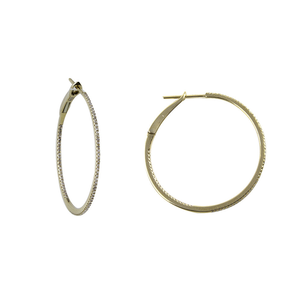 14k yellow gold 11/2'' Round Diamond Hoop Earrings