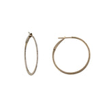 14k Black Rhodium 11/4'' round diamond hoop earrings.