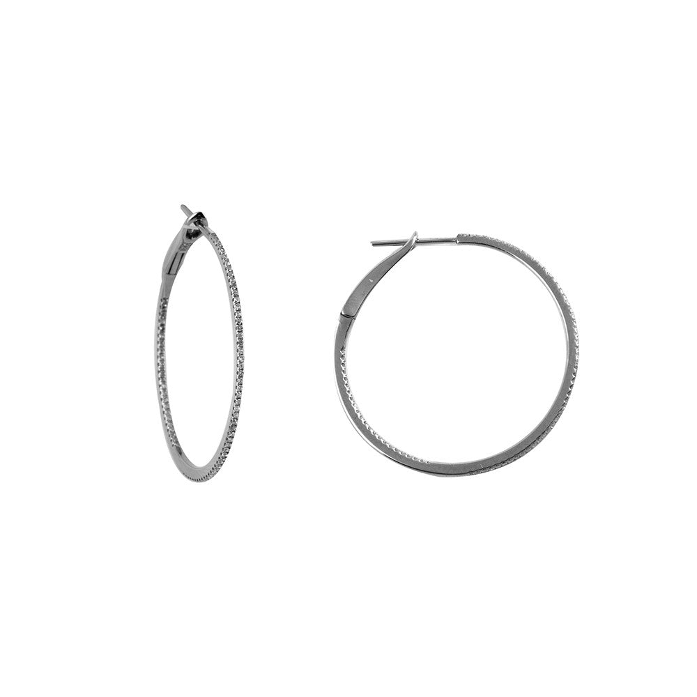 14k White Gold 11/4'' Round Diamond Hoop Earrings