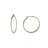 14k Yellow Gold 11/4'' Round Diamond Hoop Earrings
