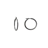 14k Rhodium 1'' round black diamond hoop earrings