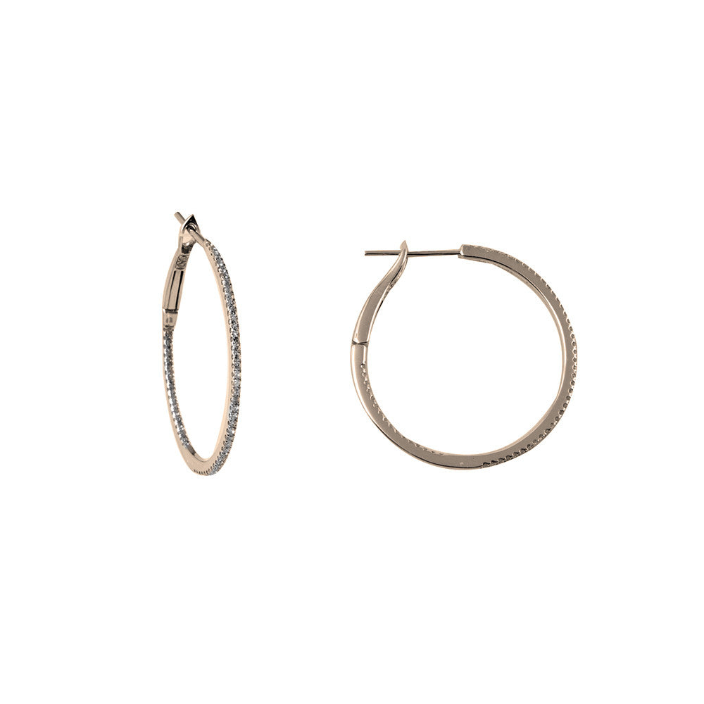 "14k gold 1"" round diamond hoop earrings"