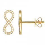 14k gold diamond infinity posts - SINGLE