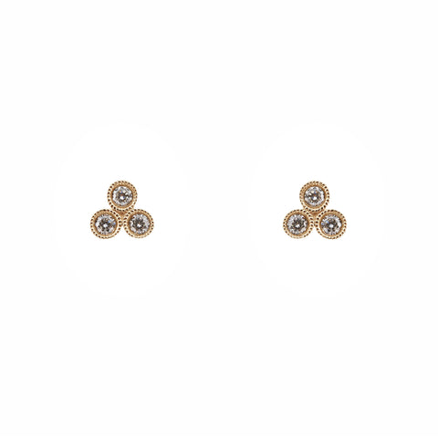 3 Bezel Set Diamond Studs