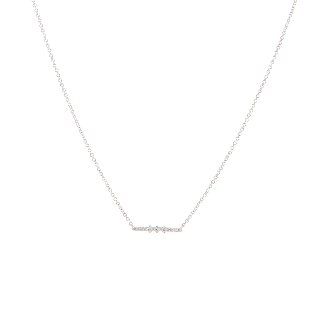 14k gold diamond bar necklace with 3 center diamonds