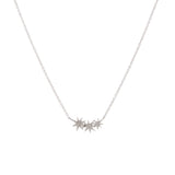 14k gold diamond triple starburst necklace