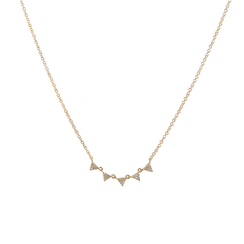 14k gold 5 diamond triangle necklace