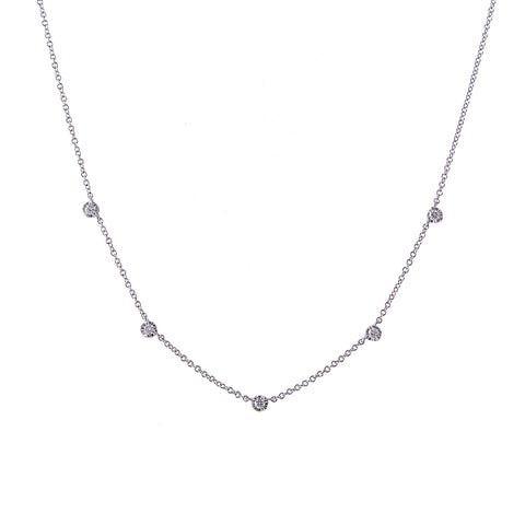 14k gold 5 Diamond Bezel Necklace