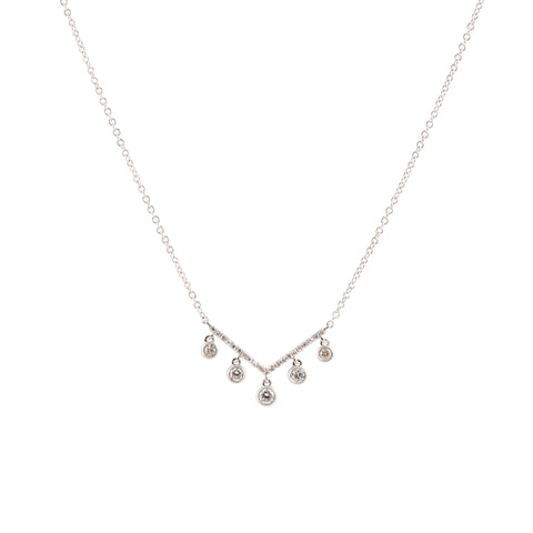 14k gold 5 diamond bezel v drop necklace