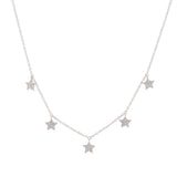 14k gold 5 diamond star drop necklace