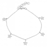 14k gold and diamond star dangle bracelet