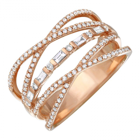 14k gold diamond criss cross ring with baguettes