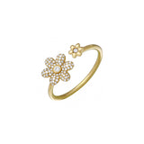 14k gold diamond double daisy ring