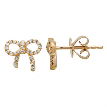 14k gold diamond bow studs - SINGLE