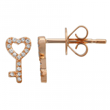 14k gold diamond key to my heart studs