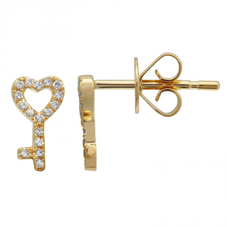 14k gold diamond key to my heart studs - SINGLE