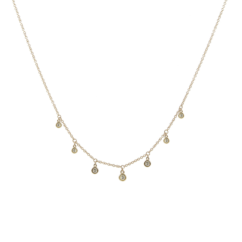 14k gold diamond bezel drop necklace