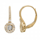 14k gold diamond baguette drop earrings