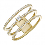 14k gold diamond triple row ring with baguettes