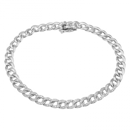 14k gold diamond link bracelet
