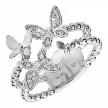 14k gold diamond butterfly ring