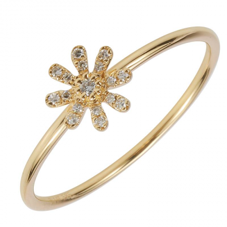 14k gold diamond daisy ring
