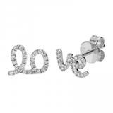 14k gold diamond love earrings