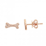 14k gold diamond dog bone studs - SINGLE