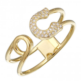 14k gold diamond safety pin ring