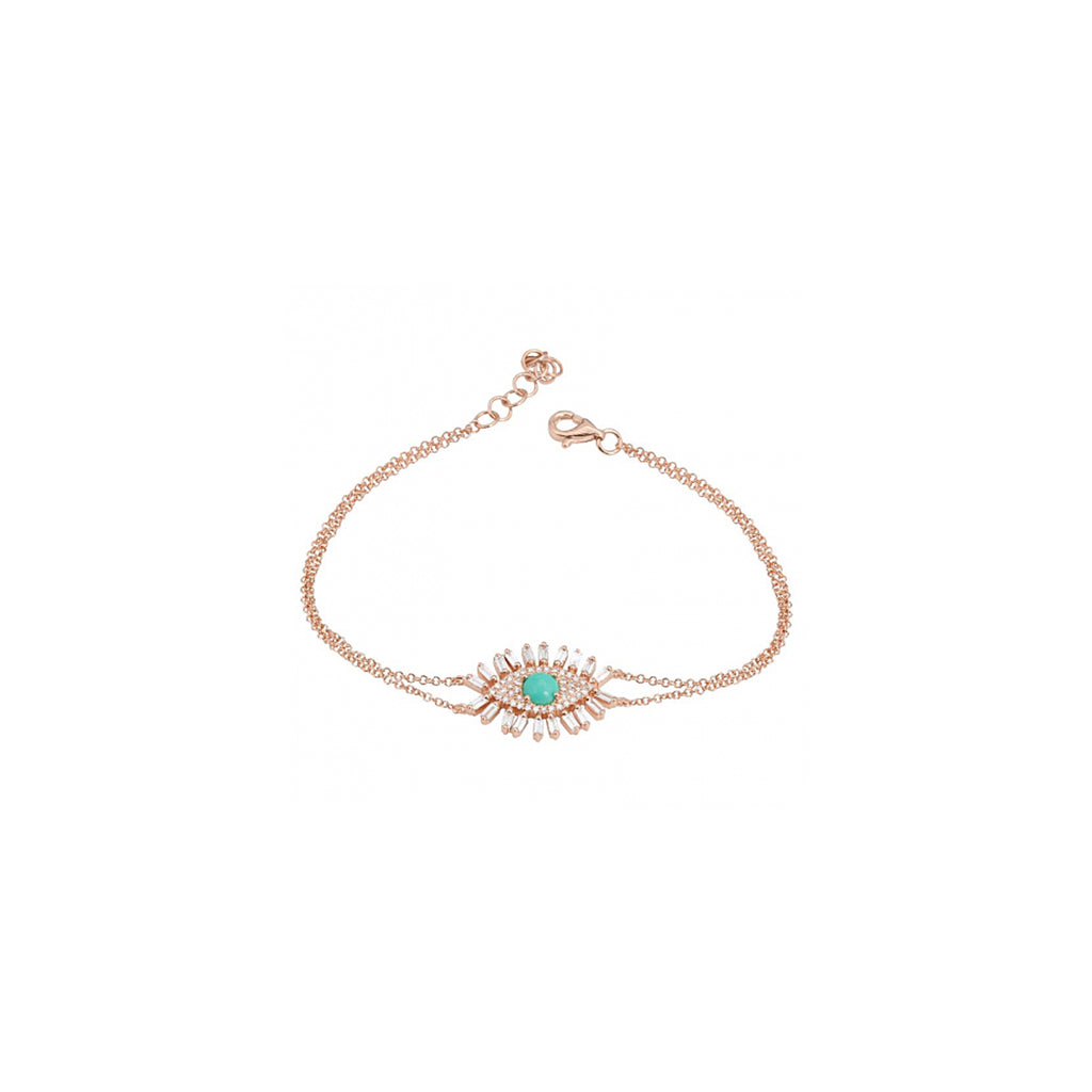 14k gold diamond baguette turq evil eye bracelet