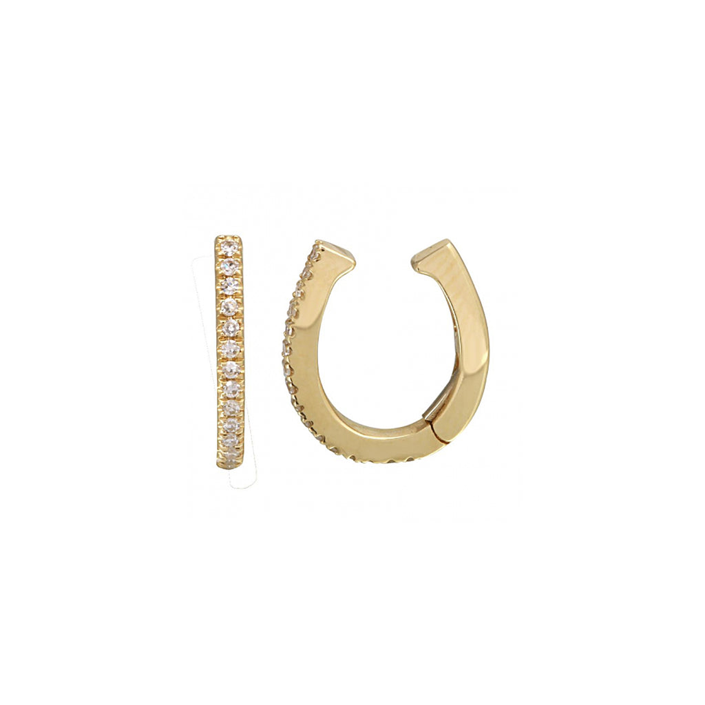 14k gold diamond hinge ear cuff - SINGLE