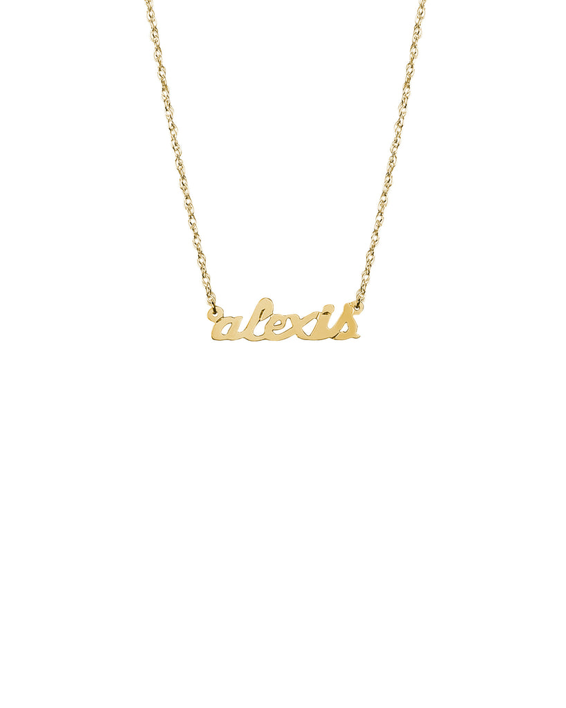 14k gold petite nameplate necklace