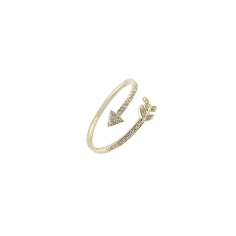 14k gold diamond arrow wrap ring