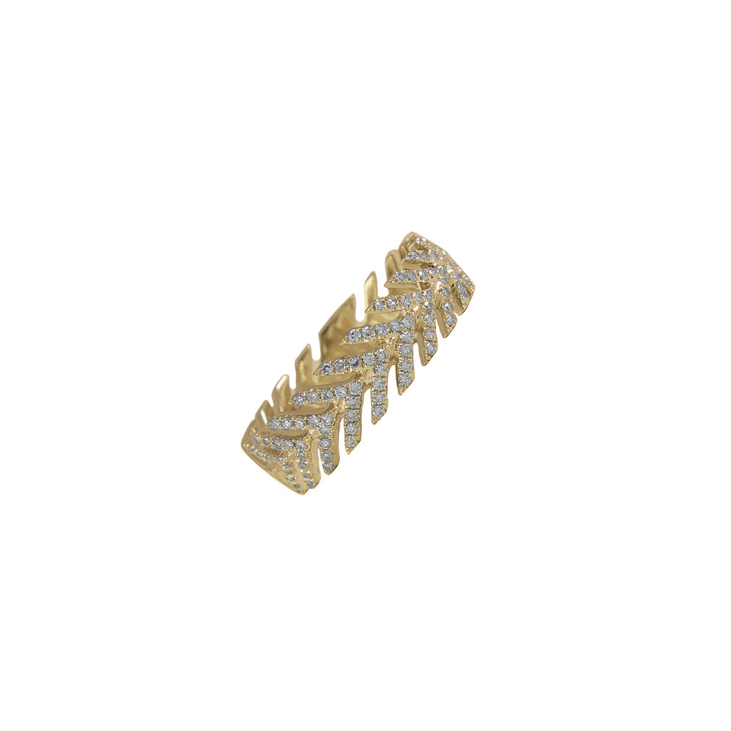 14k gold diamond arrow band