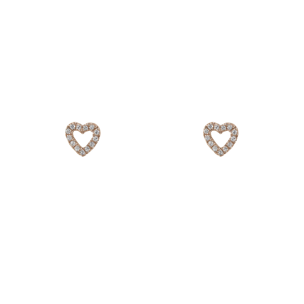 14k gold diamond baby heart studs