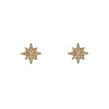 14k gold diamond single mini starburst post