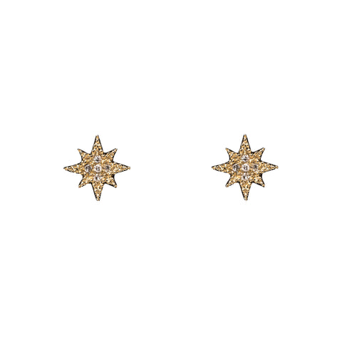 14k gold diamond mini starburst posts