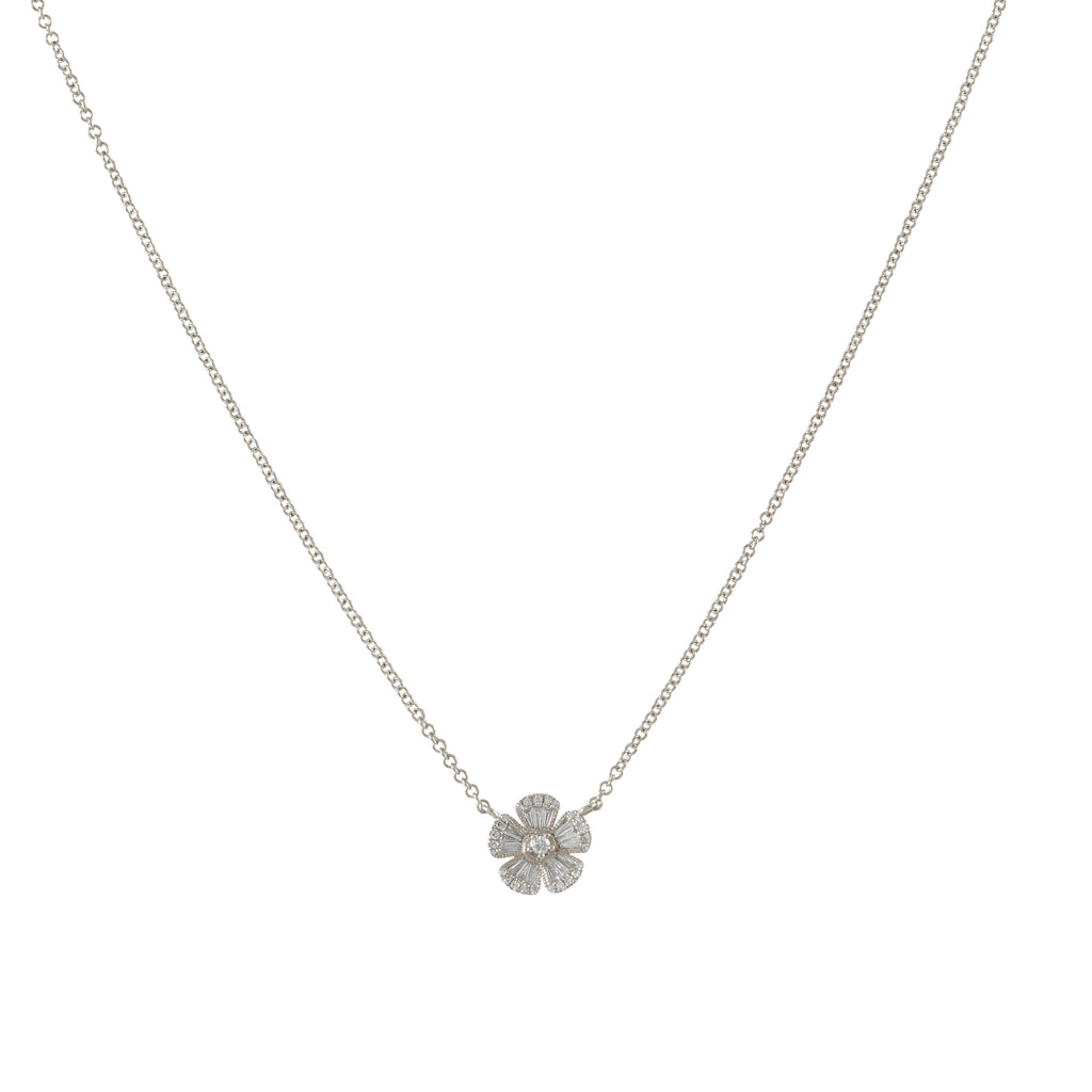 14k gold diamond baguette flower necklace