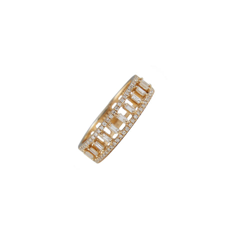 14k gold baguette diamond border band